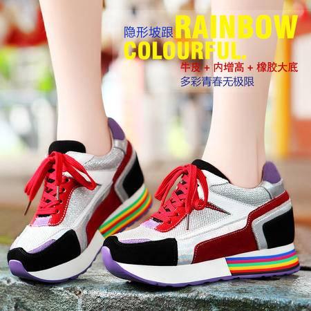 莫蕾蔻蕾8120秋冬系带七彩内增高女鞋休闲厚底单鞋韩版运动松糕鞋