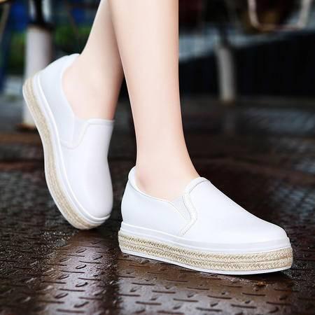 莫蕾蔻蕾5Q138乐福懒人鞋秋新款内增高女鞋厚底平底休闲鞋单鞋套脚女鞋