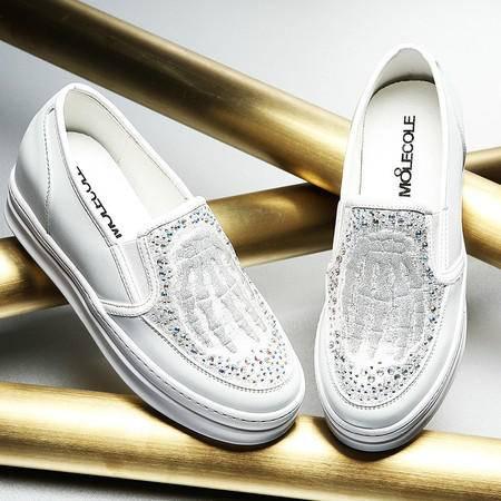 莫蕾蔻蕾秋季厚底松糕鞋平底水钻乐福鞋复古内增高休闲女鞋