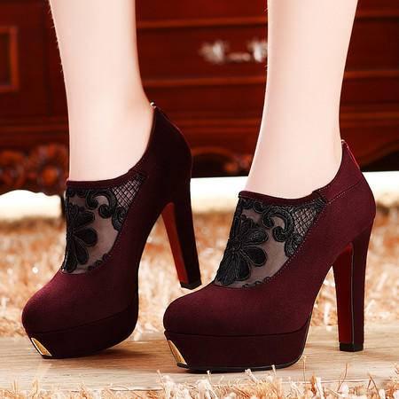 莫蕾蔻蕾203-5春秋新款防水台罗马性感单鞋蕾丝高跟粗跟低帮女鞋