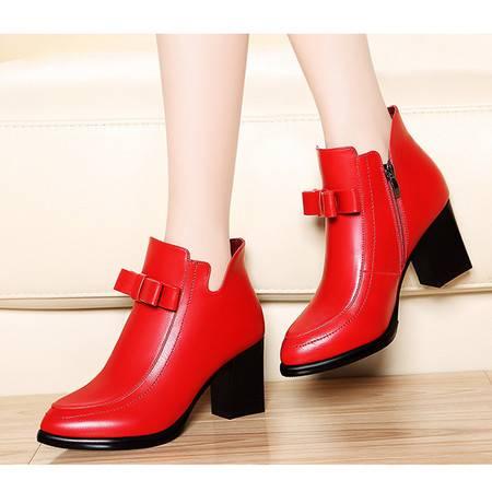 莫蕾蔻蕾高跟短靴女秋冬季5Q203尖头马丁靴 时尚女鞋欧美粗跟单靴子潮