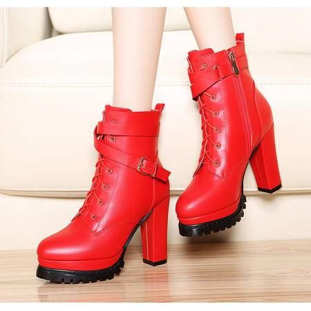 2015秋冬季新款5Q155英伦马丁靴潮粗跟短靴超高跟女靴子防水台圆头系带