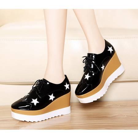 莫蕾蔻蕾2015秋季星星女鞋内增高松糕鞋系带休闲鞋厚底单鞋平底鞋女