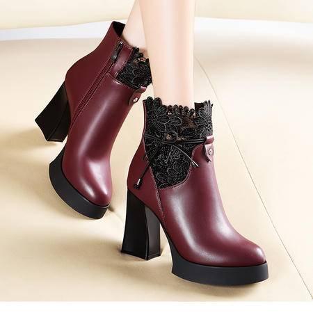 莫蕾蔻蕾5Q060秋冬新款短靴蕾丝性感女靴粗跟女式短靴子高跟中筒女鞋