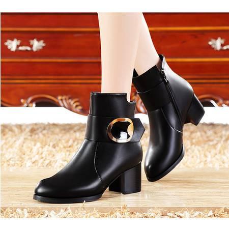 莫蕾蔻蕾马丁靴潮女短靴粗跟高跟鞋短筒靴2015秋新款5Q058圆头欧美女靴