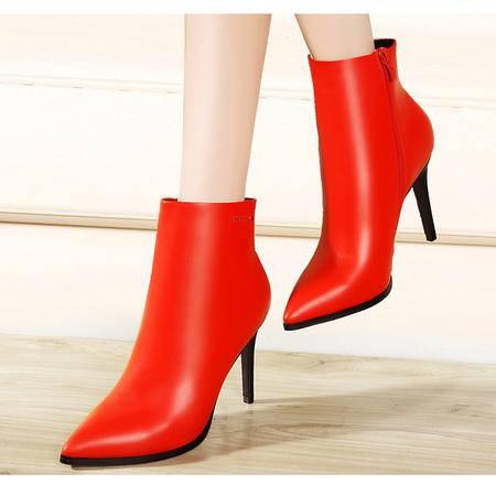 莫蕾蔻蕾尖头细跟高跟鞋女深口单鞋女鞋2015秋冬新款红色婚鞋潮鞋