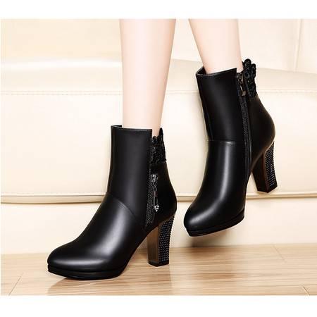 莫蕾蔻蕾粗跟短靴5Q083女蕾丝高跟鞋欧美时装靴潮靴2015秋新款圆头女靴