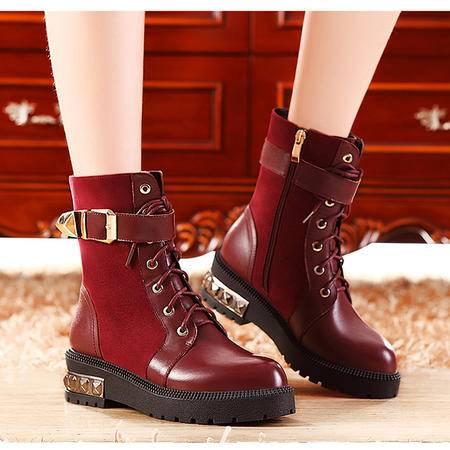 莫蕾蔻蕾85-3厚底系带马丁靴女潮短靴真皮2015秋冬新款粗跟中跟女靴子