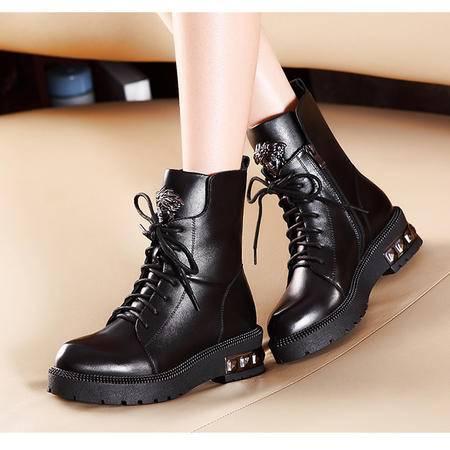 莫蕾蔻蕾2015秋冬新款85-1英伦短筒系带马丁靴粗跟短靴女真皮潮女靴子