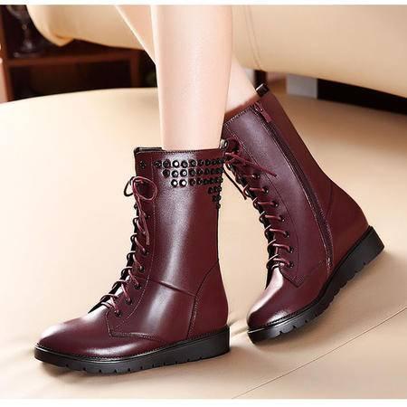 莫蕾蔻蕾系带马丁靴粗跟短靴女靴真皮潮靴2015秋冬新款88-1英伦短筒女靴子