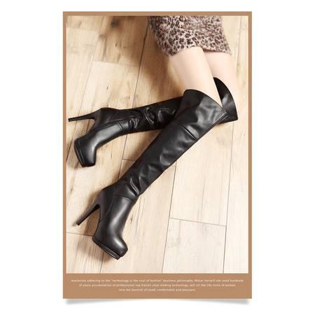 莫蕾蔻蕾A930细跟高跟过膝长靴女真皮靴2015秋冬新款圆头厚底长筒女靴子