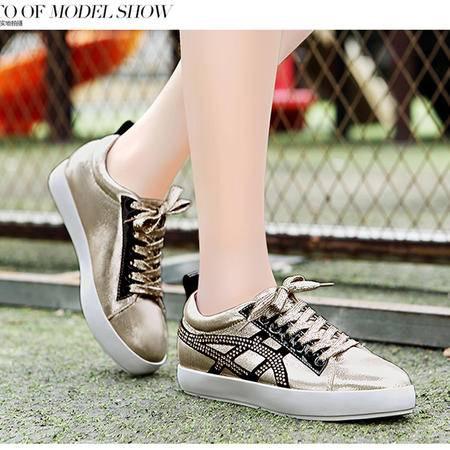 莫蕾蔻蕾5Q22韩版休闲鞋板鞋厚底平底鞋2015秋季新款水钻潮流女鞋单鞋