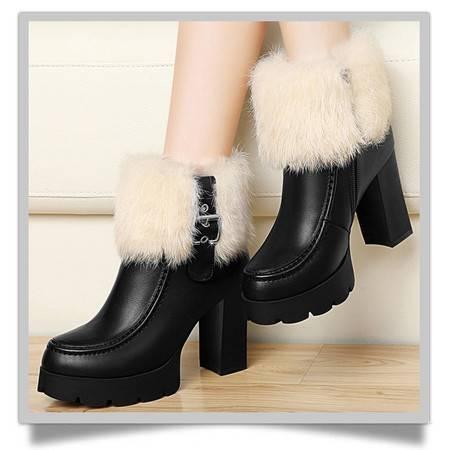 古奇天伦马丁靴潮女短靴2015秋冬新款欧美高跟粗跟加绒兔毛女靴子