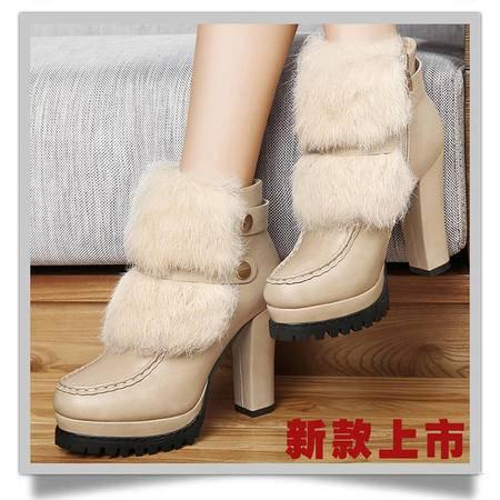 古奇天伦2015秋冬新款高跟女靴8321粗跟短靴潮马丁靴防水台裸靴女鞋子