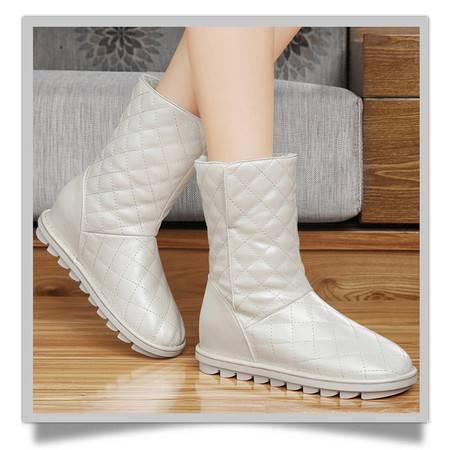 古奇天伦女鞋秋冬季新品内增高雪地靴女中筒靴圆头加厚女靴子短靴