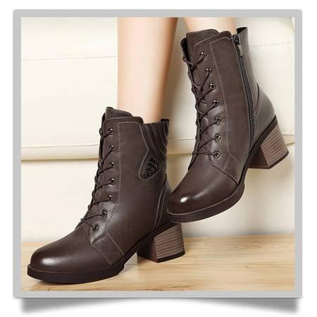 古奇天伦系带马丁靴8282潮女秋季时尚保暖短筒靴圆头粗跟女靴子高跟鞋
