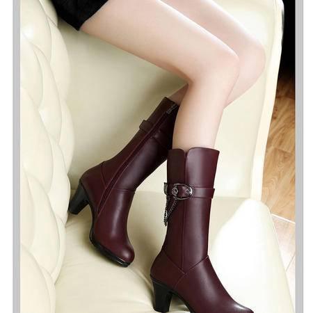 古奇天伦2015秋冬季新品圆头中靴高筒靴粗跟高跟靴金属装饰女靴子