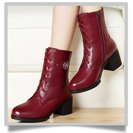 古奇天伦2015秋冬新品8276款保暖粗跟短筒靴子短靴高跟女鞋英伦马丁靴