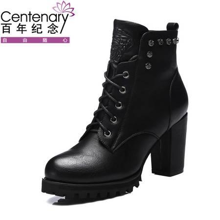 百年纪念粗跟短靴1076女秋冬款新品2015高跟英伦马丁靴潮女靴子及祼靴