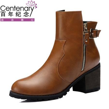 百年纪念2015短靴秋冬新品中跟马丁靴1092时尚粗跟潮女靴子英伦风女靴