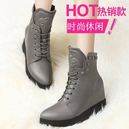 2015秋冬季新款1082厚底马丁靴防水台女靴内增高踝靴平底靴子坡跟短靴