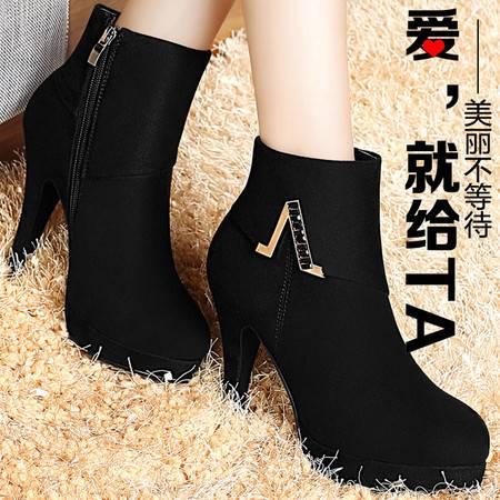 百年纪念2015秋冬新品细跟短靴防水台高跟鞋短筒裸靴欧美潮女鞋子