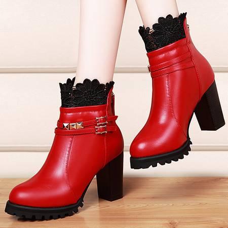 盾狐秋冬新款马丁靴韩版粗跟短靴女高跟短筒靴子女英伦风潮鞋9211