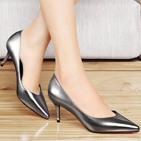 百年纪念单鞋女2016春季新品低帮鞋套脚高跟鞋浅口尖头细跟女鞋子