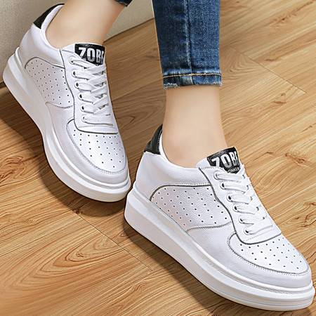 百年纪念春季新款真皮休闲鞋平底女鞋头层牛皮系带单鞋板鞋小白鞋