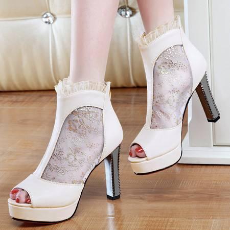 盾狐2016春季新款鱼嘴鞋网纱粗跟高跟鞋单鞋女蕾丝深口女鞋子韩版