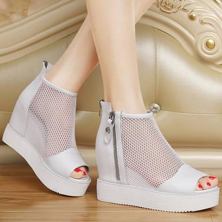 百年纪念1156夏头层牛皮鱼嘴凉鞋真皮坡跟厚底松糕鞋防水台高跟鞋