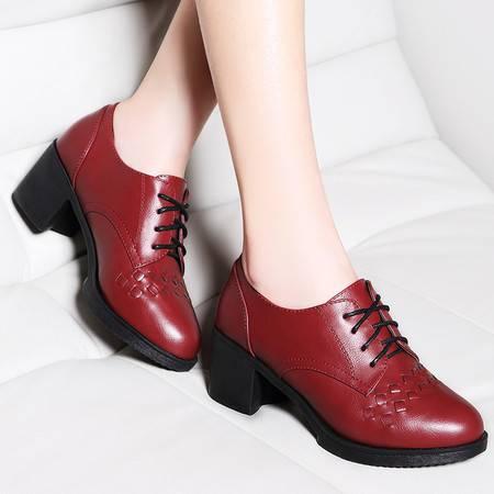 莱卡金顿粗跟单鞋女系带高跟英伦皮鞋工作女时尚女鞋2016春季新款