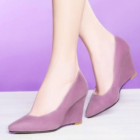 莱卡金顿坡跟单鞋女OL优雅工作时尚女鞋女粗跟防水台2056春季新款