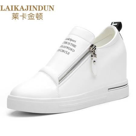 莱卡金顿新品隐形内增高单鞋女平底女鞋乐福鞋厚底潮流休闲鞋皮鞋