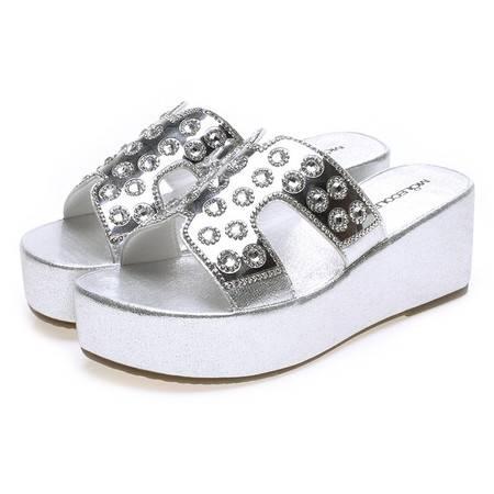 莫蕾蔻蕾夏季新款女鞋拖鞋厚底平底休闲鞋防水台中跟水钻时装一字拖