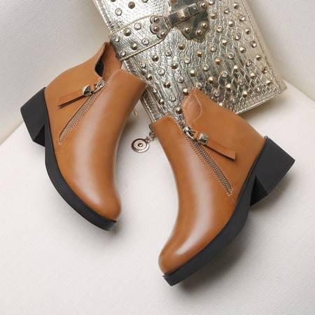GUCIHEAVEN/古奇天伦 内增高女靴2016秋冬季新款马丁靴女英伦风加绒平底短靴子