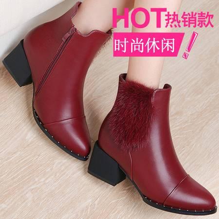 GUCIHEAVEN/古奇天伦 女鞋冬季2016新款短靴女中高跟粗跟马丁靴冬鞋加绒女靴子