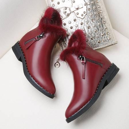GUCIHEAVEN/古奇天伦女鞋冬季2016新款加绒冬鞋马丁靴女内增高短靴平底女靴子
