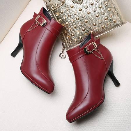GUCIHEAVEN/古奇天伦 8503尖头英伦风马丁靴2016秋冬季新款高跟女靴子细跟短靴女鞋