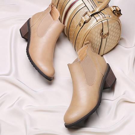 GUCIHEAVEN/古奇天伦 高跟马丁靴英伦风粗跟短靴女春秋单靴秋冬季女鞋机车靴子