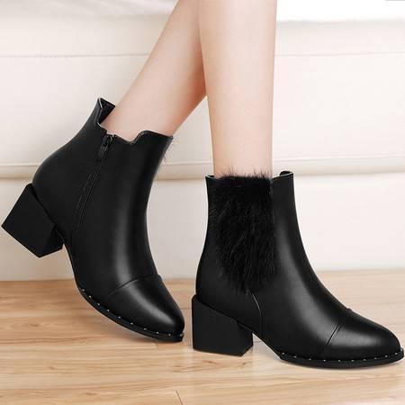 GUCIHEAVEN/古奇天伦 8529英伦风马丁靴粗跟短靴2016秋冬季新款高跟女鞋女靴子冬鞋