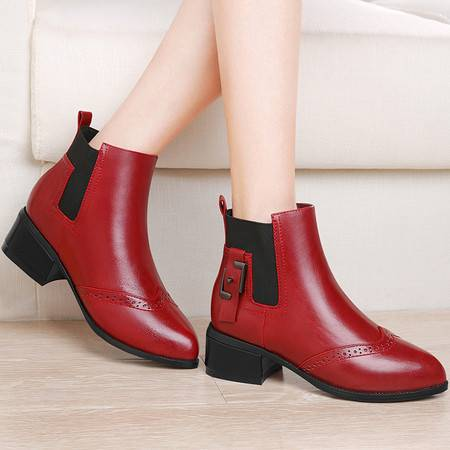 GUCIHEAVEN/古奇天伦 8424切尔西短靴女中跟粗跟靴子2016新款冬季女鞋尖头加绒女靴