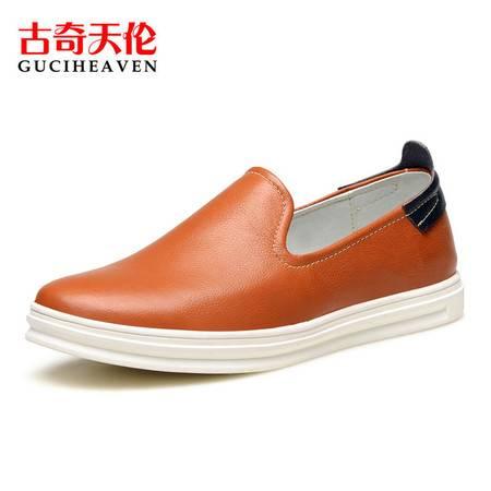 GUCIHEAVEN/古奇天伦 乐福鞋真皮鞋子韩版男士休闲鞋一脚蹬板鞋潮透气男鞋