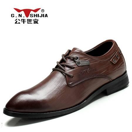公牛世家 888179秋季新款男鞋真皮商务正装鞋子英伦潮流皮鞋尖头系带单鞋