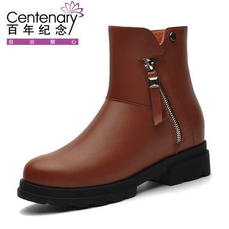 百年纪念1283 马丁靴女冬季女鞋2016新款潮真皮中跟短靴平底圆头靴子英伦风女靴