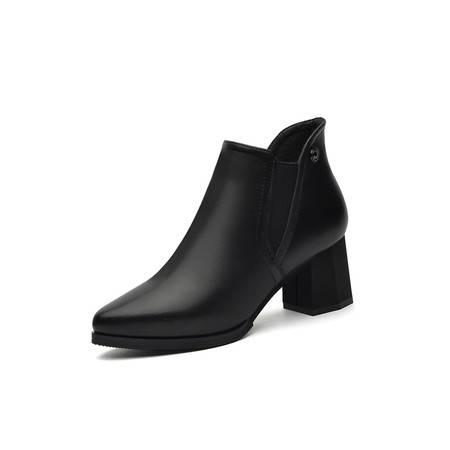 百年纪念1276 马丁靴女冬季女鞋2016新款真皮粗跟高跟短靴尖头英伦风中跟女靴子