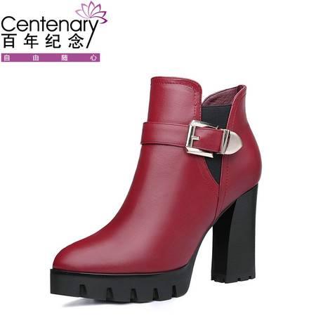 百年纪念 高跟马丁靴真皮粗跟女靴子2016冬季新款小短靴英伦风女鞋