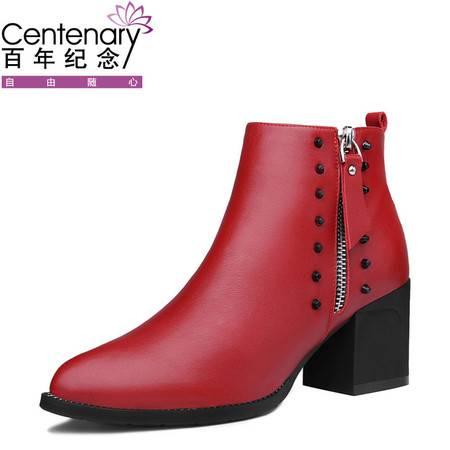 百年纪念粗跟小短靴高跟真皮马丁靴2016冬季新款尖头短筒女靴子英伦风女鞋