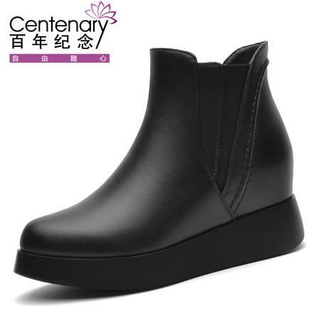 百年纪念 1320厚底内增高短靴真皮加绒女鞋冬季2016新款切尔西平底英伦风马丁靴