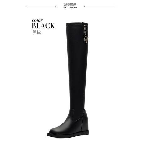 莱卡金顿 6116秋冬季纯色欧美平底弹力过膝靴长筒内增高女靴马丁靴